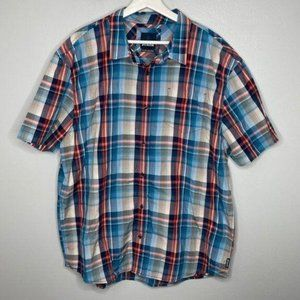 Prana Orange Blue Plaid Short Sleeve Shirt